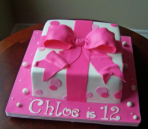 Pink gift box cake 8