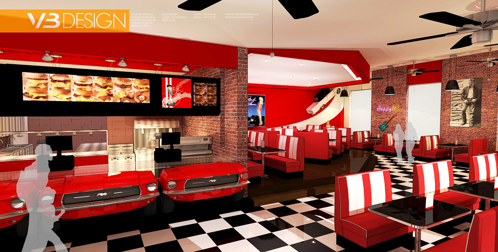 50 39 s 60s 39 theme fast food restaurant concept for Fast food decoration