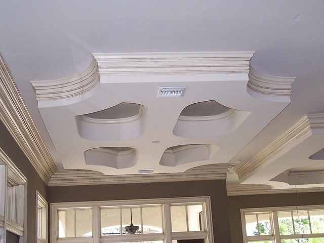 Two Step Crown Moulding On Curved Drop Down Ceiling