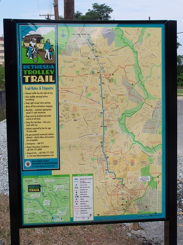 Bethesda Trolley Trail wayfinding sign, map, regional plans and rules side