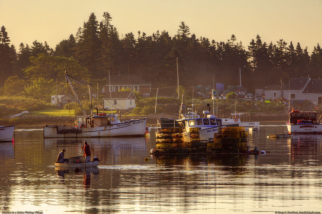 Maine Fishing Village | Two lobstermen work their way to the… | Flickr