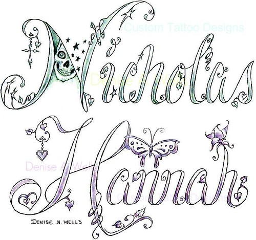 name tattoo designs by denise a wells two more custom tat flickr. Black Bedroom Furniture Sets. Home Design Ideas