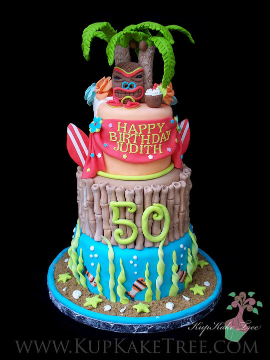 Hawaiian Themed Birthday Cake Kupkake Tree Flickr