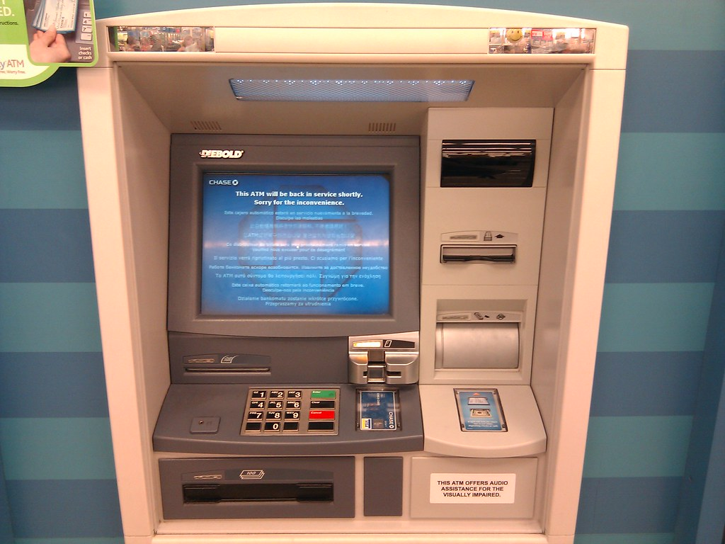 Chase ATM out of service - card reader flashing yellow | Flickr