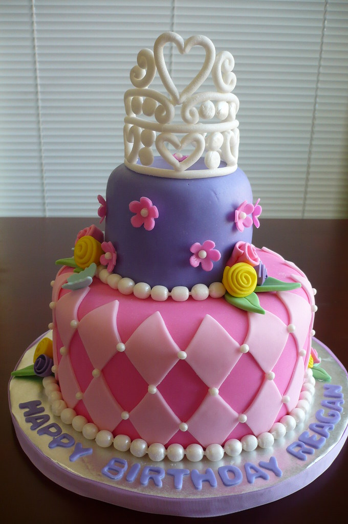 Princess Birthday Cake Two Tier Strawberry Cake Covered