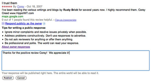 Google Place Reviews Owner Responses 2 | by rustybrick