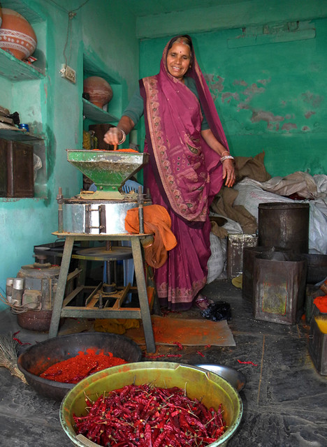 woman selling spices