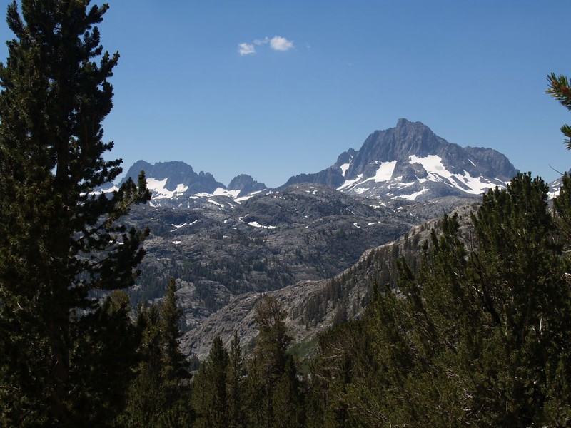 The Minarets, Mount Ritter, and Banner Peak from the Gem Pass Trail