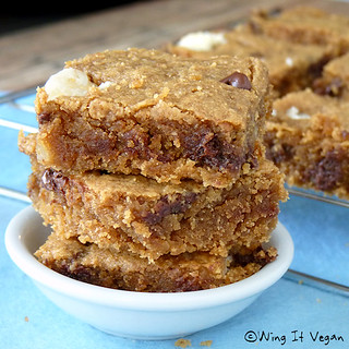 Almond Butter Blondies - Fudgy Fudge | by River (Wing-It Vegan)