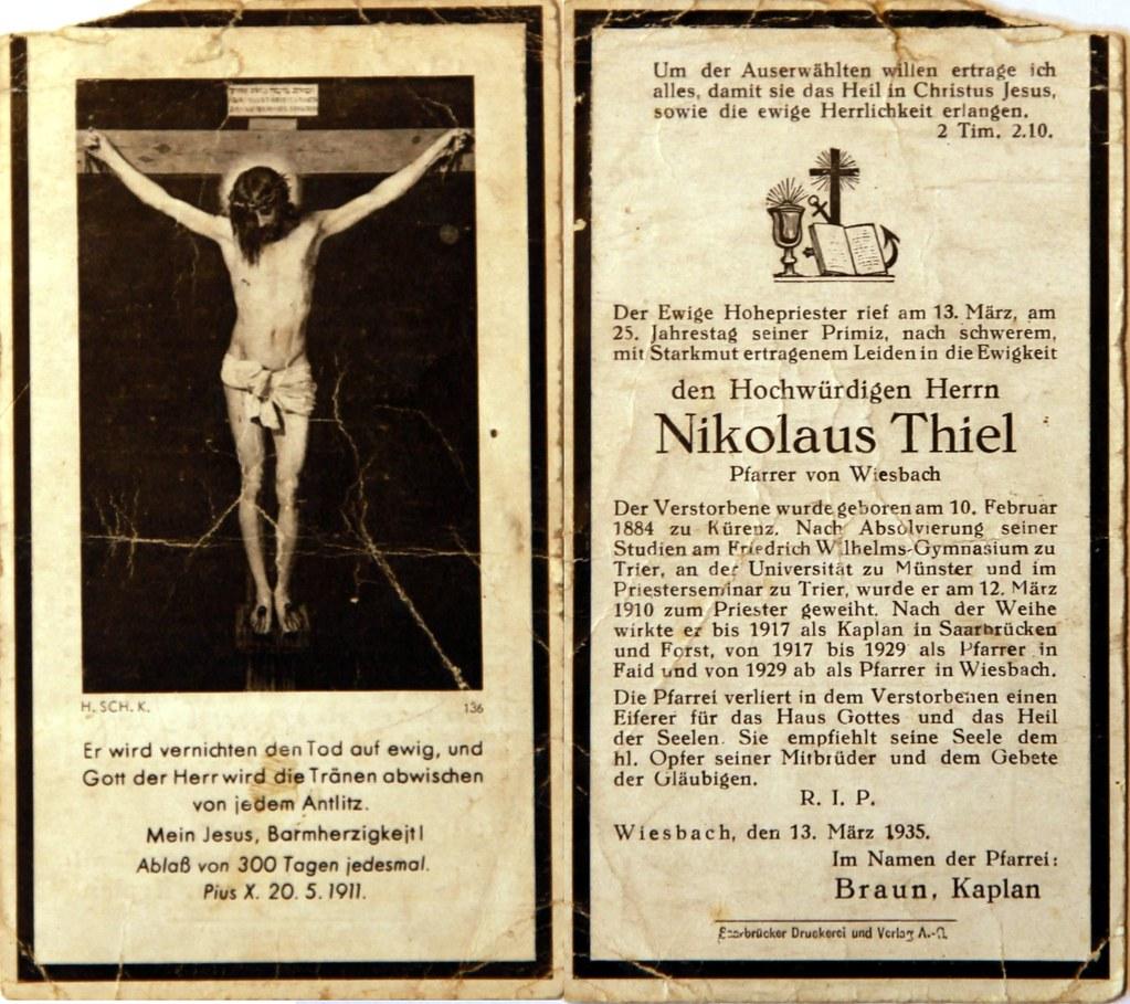 Totenzettel Thiel, Nikolaus - Pfarrer † 13.03.1935
