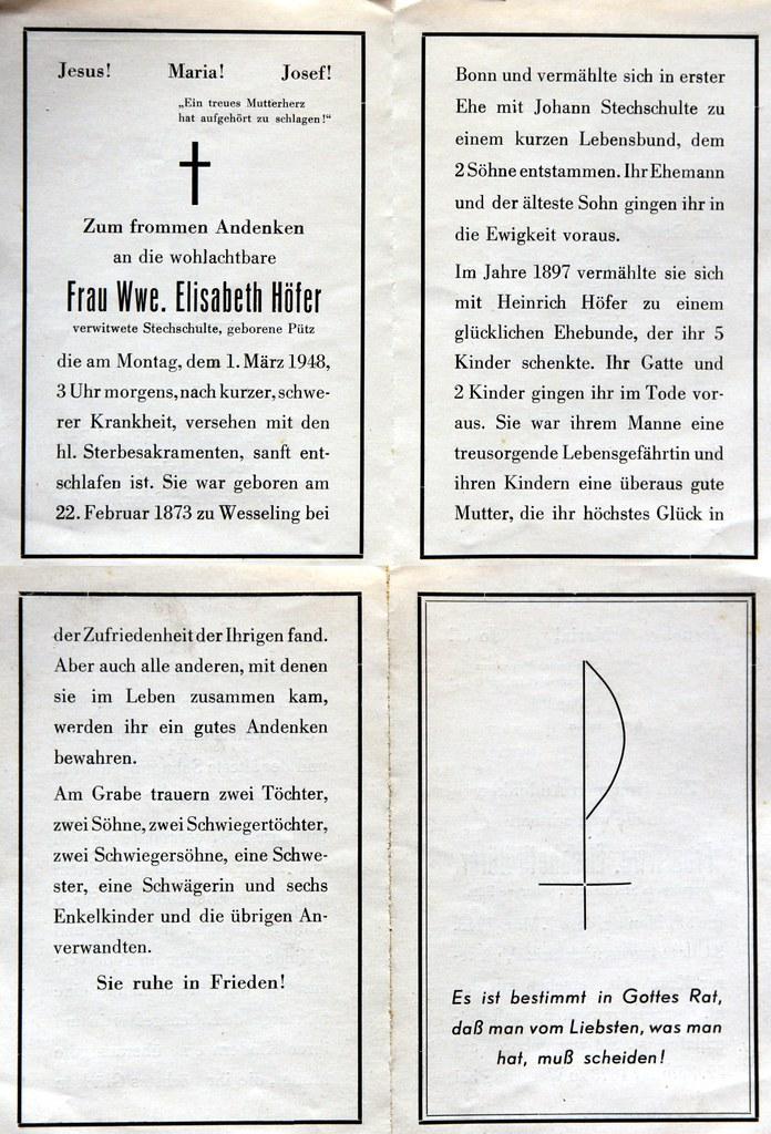 Totenzettel Hoefer, Elisabeth † 01.03.1948