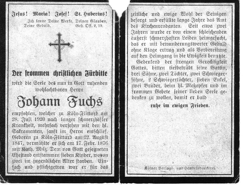 Totenzettel Fuchs, Johann † 28.07.1920