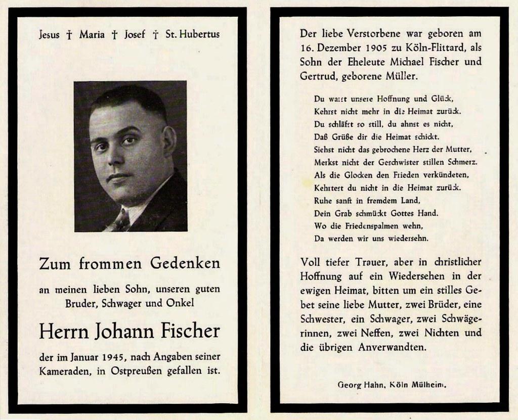 Totenzettel Fischer, Johann † 01.01.1945