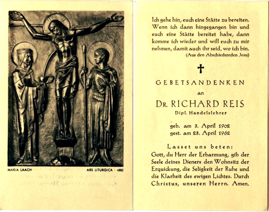 Totenzettel Reis, Richard † 23.04.1962