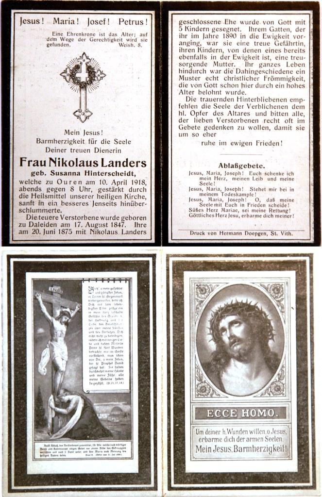 Totenzettel Landers, Susanna † 10.04.1918