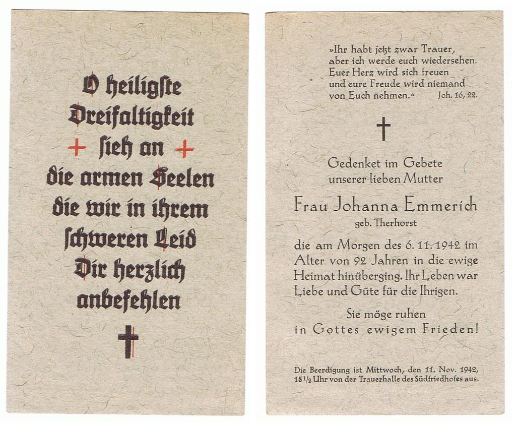 Totenzettel Emmerich, Johanna geb. Therhorst † 06.11.1942