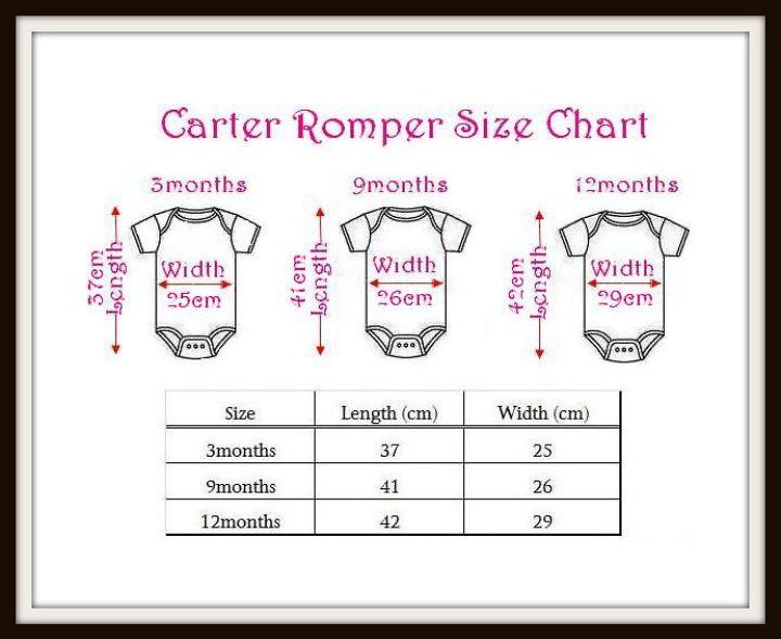 carter romper size chart