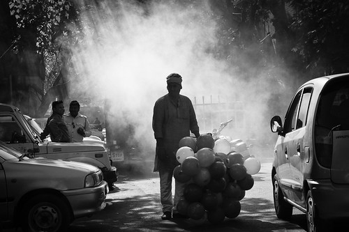 balloon seller in black and white | by nandadevieast