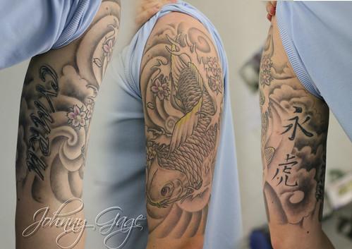 japanese koi half sleeve tattoo   Tattooed by Johnny at