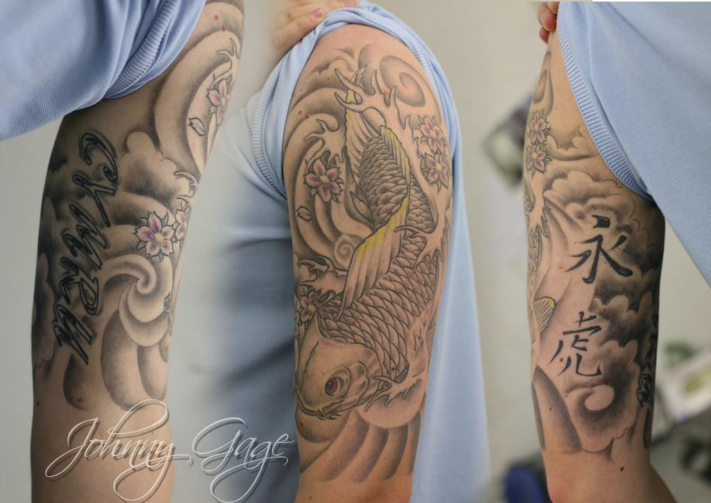 japanese koi half sleeve tattoo tattooed by johnny at the flickr. Black Bedroom Furniture Sets. Home Design Ideas