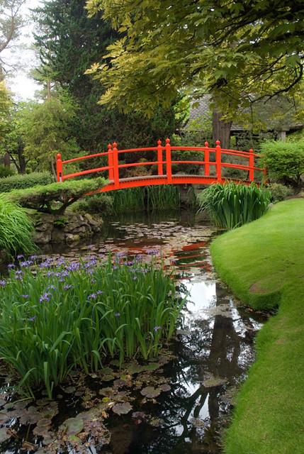 Red Footbridge In Irish Japanese Gardens, Kildare, Ireland