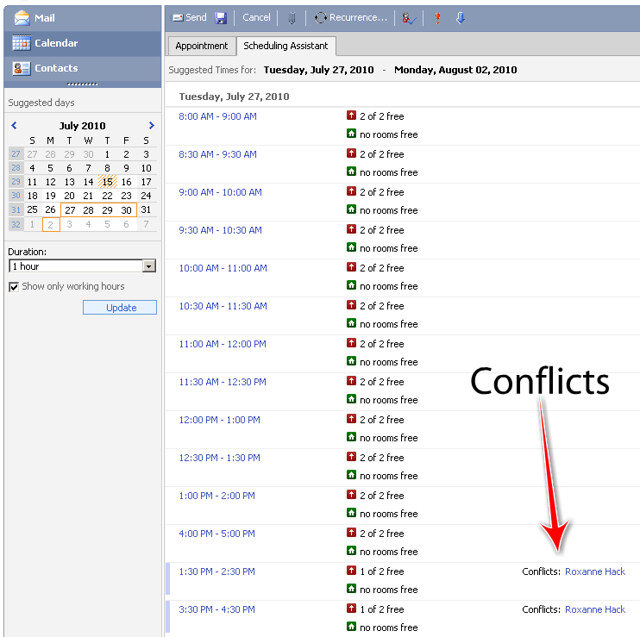 Microsoft Outlook Meeting Room Booking System