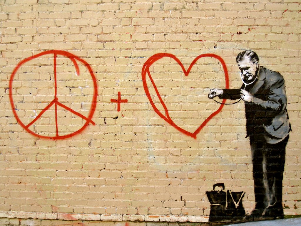 Banksy in SF - Peace and Love | Chinatown, SF | kzembera | Flickr