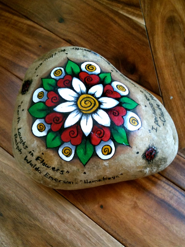 Painted rock door stopper i decided to paint my door - Painting rocks for garden what kind of paint ...