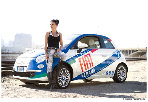 fiat 500 and cristina scabbia on the road fiat yamaha team flickr. Black Bedroom Furniture Sets. Home Design Ideas