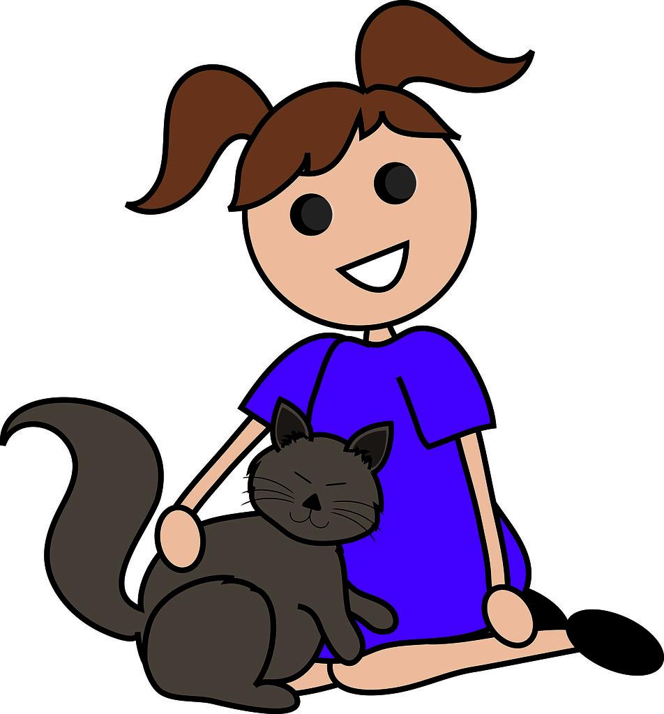 Petting A Dog And Cat Cartoon