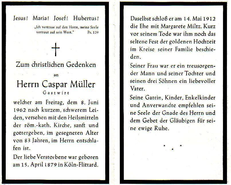 Totenzettel Müller, Caspar † 08.08.1962
