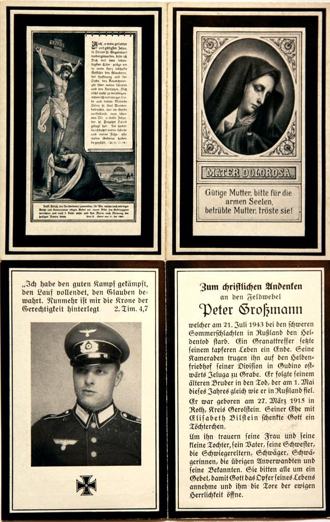 Totenzettel Großmann, Peter † 21.07.1943