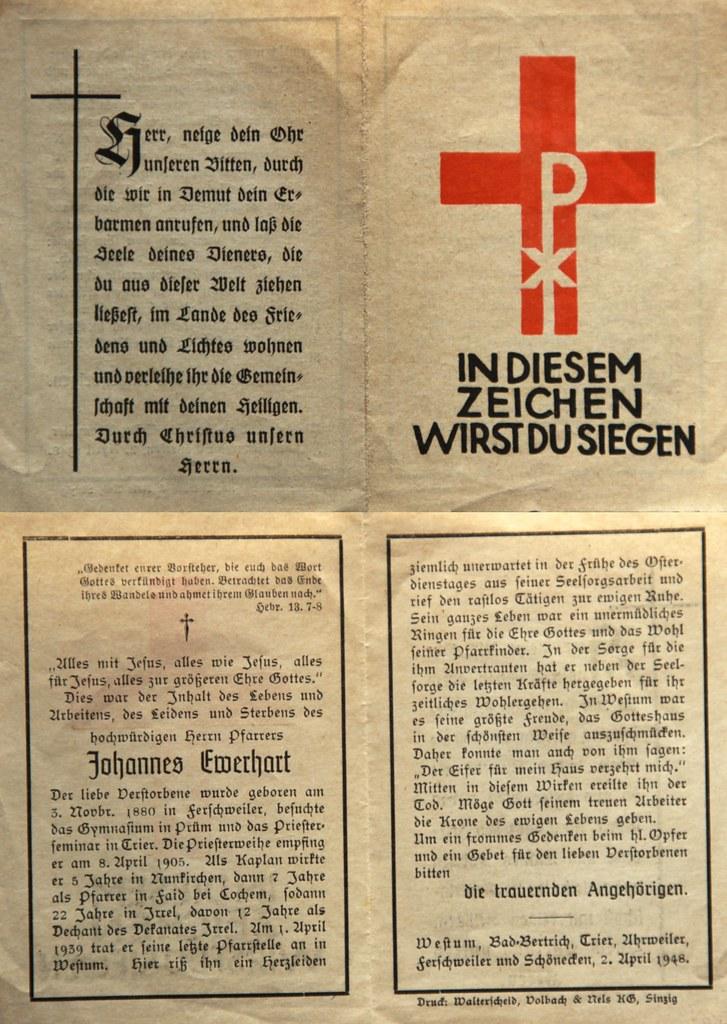 Totenzettel Ewerhart, Johannes - Pfarrer † 02.04.1948