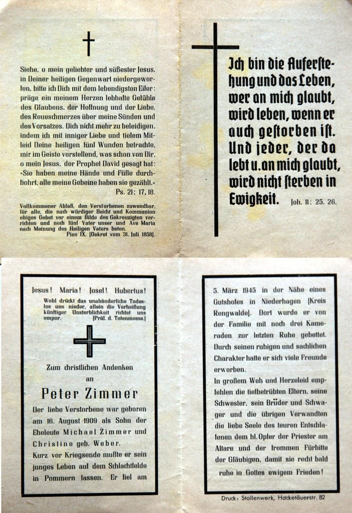 Totenzettel Zimmer, Peter † 05.03.1945