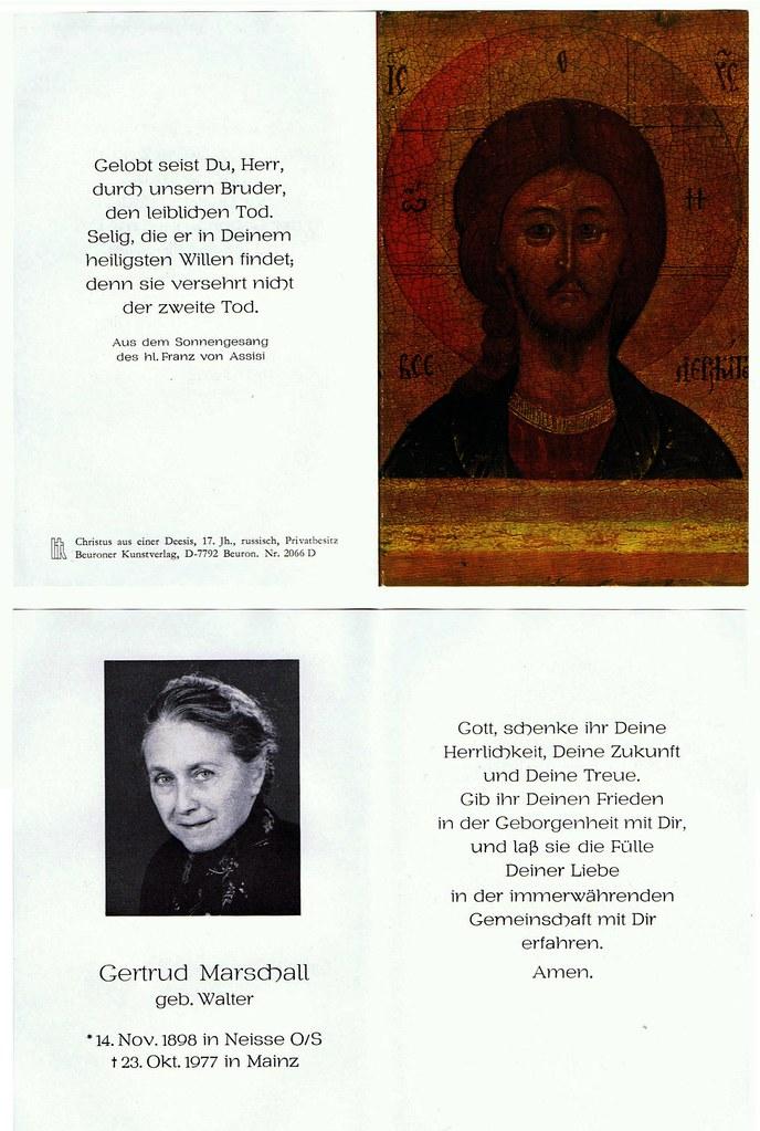 Totenzettel Walter, Gertrud geb. Walter † 23.10.1977