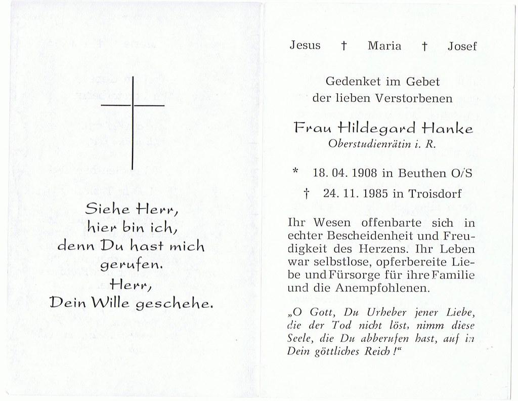 Totenzettel Hanke, Hildegard † 24.11.1985
