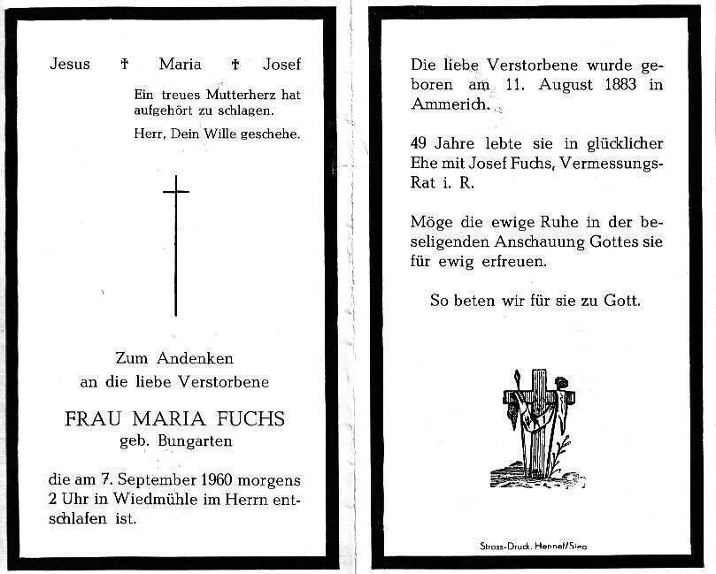 Totenzettel Fuchs, Maria geb. Bungarten † 07.09.1960