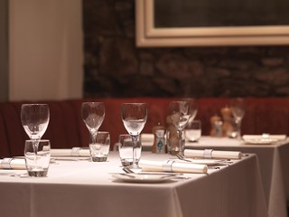 Table laid for dinner | by The Kilberry Inn
