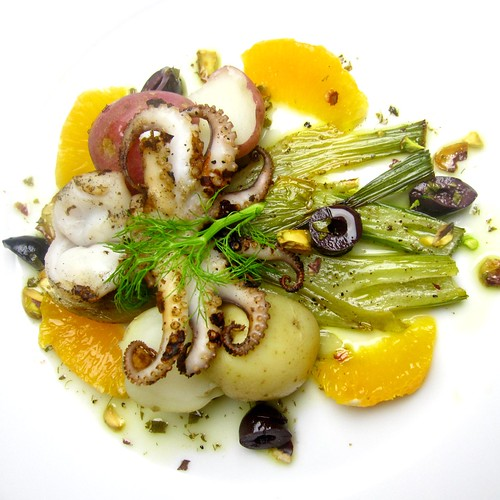 Grilled Baby Octopus Salad with Roasted Fennel, Olives, Citrus and Pistachios | by SeppySills