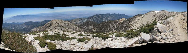 Stitched panorama view south from the trail. That's San Jacinto Peak on the left.