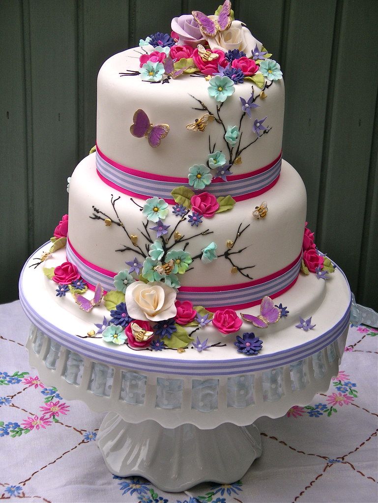 Wedding Cake Ideas For Summer Wedding : Bright summer blooms wedding cake Lynette Horner Flickr
