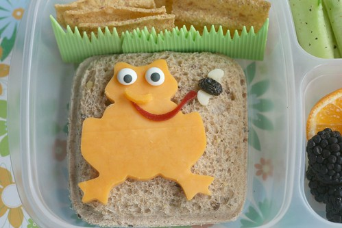 sandwich with cute cheese frog lunch - ribbet! | by anotherlunch.com