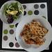 Mixed leaves and avocado salad, arroz chaufa de pescado y mariscos