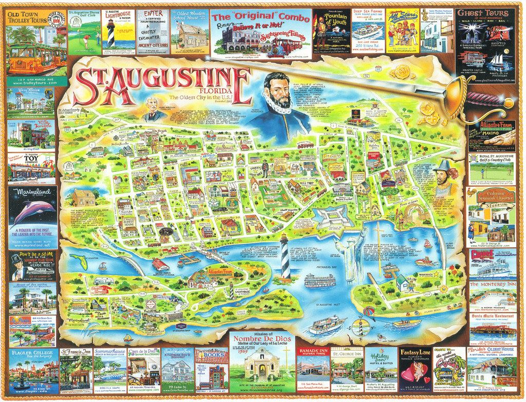 Map Of St Augustine Florida.Florida St Augustine Map Postcard America S Oldest And Mo Flickr