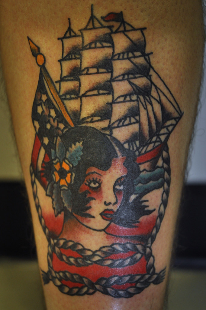 Safe return girl and ship tattoo keelhauled mike black anc for American anchor tattoo