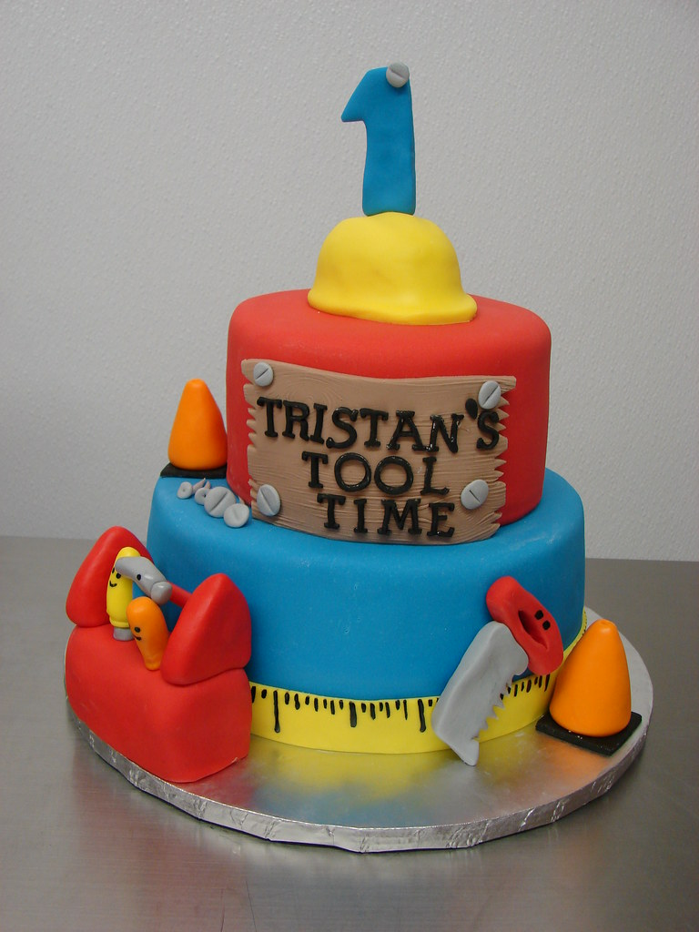 Carpenter Themed First Birthday Cake Littlesugarbakesh Flickr