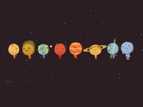 Solar system planets with faces