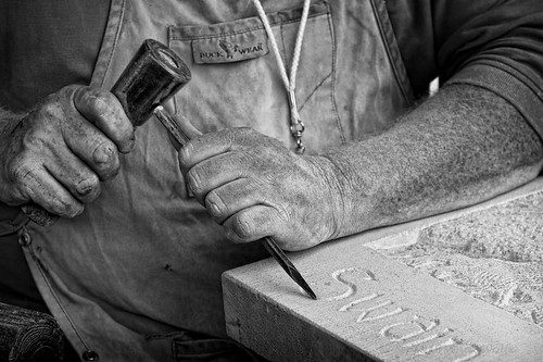 Stone carver at Dublin Irish Festival | by andiwolfe