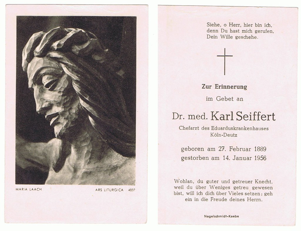 Totenzettel Seiffert, Karl Franz Anton † 14.01.1956