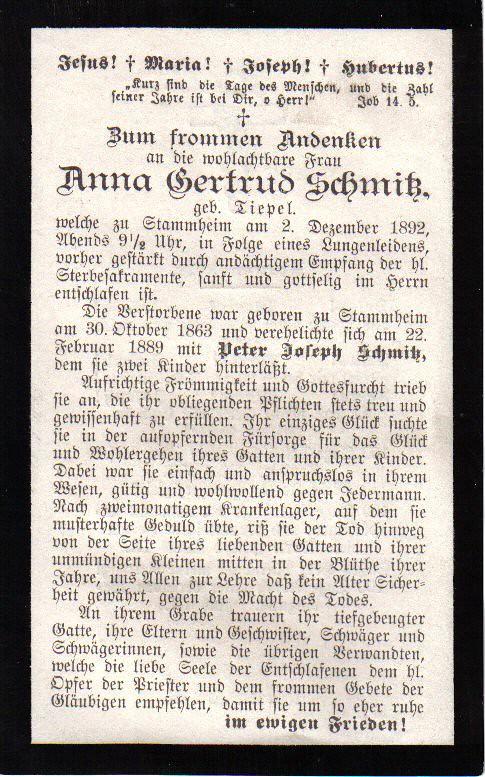 Totenzettel Schmitz, Gertrud † 02.12.1892
